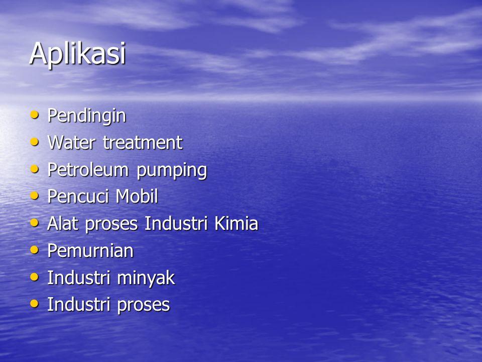 Aplikasi Pendingin Water treatment Petroleum pumping Pencuci Mobil