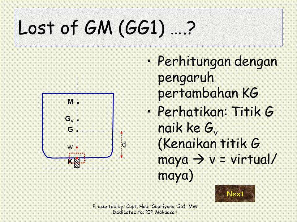 Lost of GM (GG1) …. Perhitungan dengan pengaruh pertambahan KG