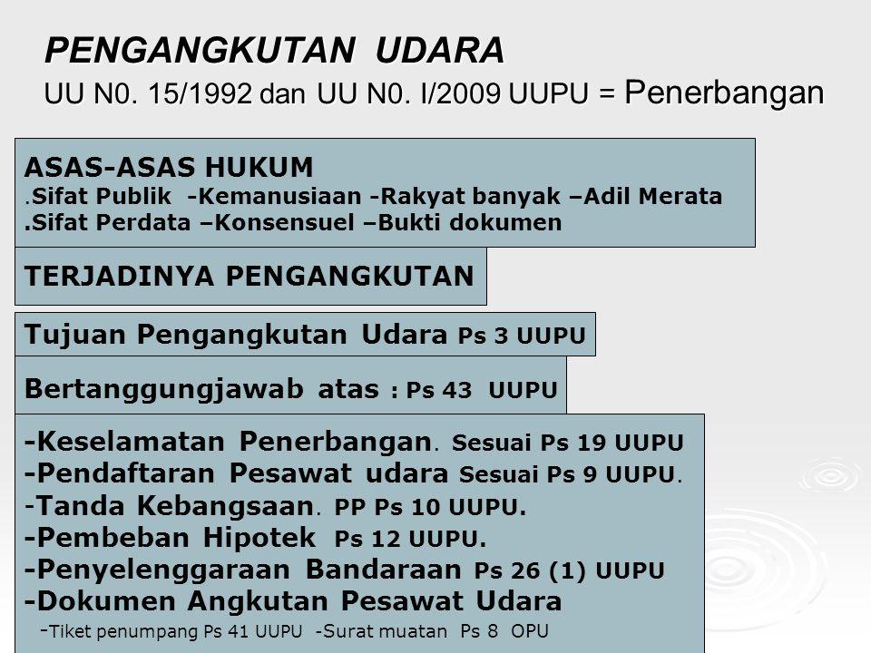 PENGANGKUTAN UDARA UU N0. 15/1992 dan UU N0. I/2009 UUPU = Penerbangan