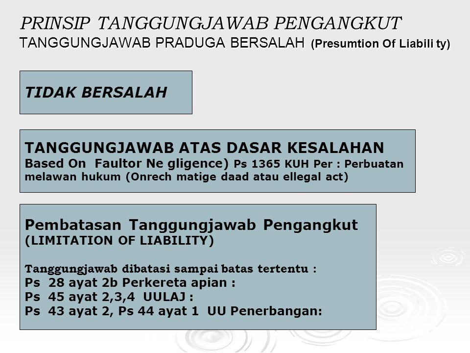 PRINSIP TANGGUNGJAWAB PENGANGKUT TANGGUNGJAWAB PRADUGA BERSALAH (Presumtion Of Liabili ty)