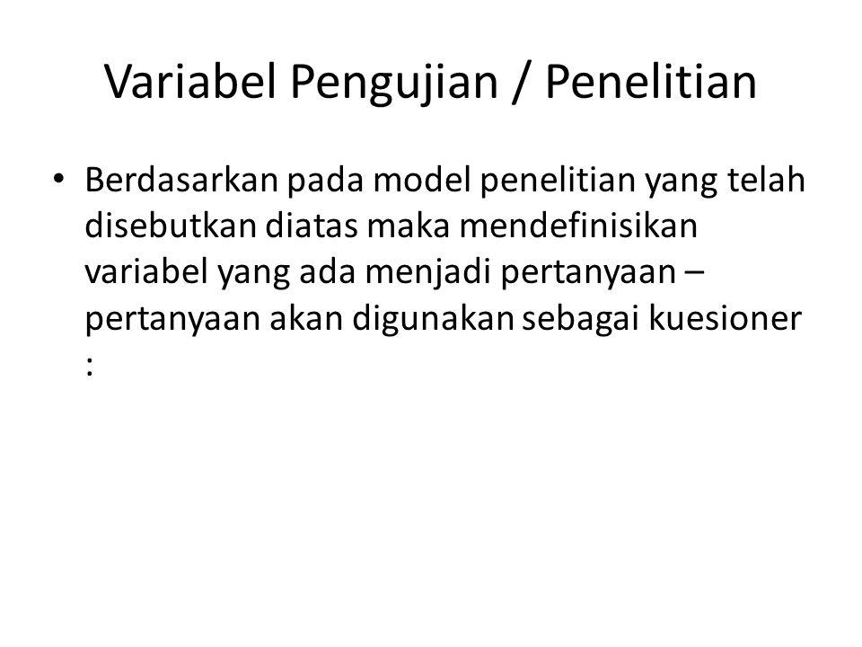 Variabel Pengujian / Penelitian