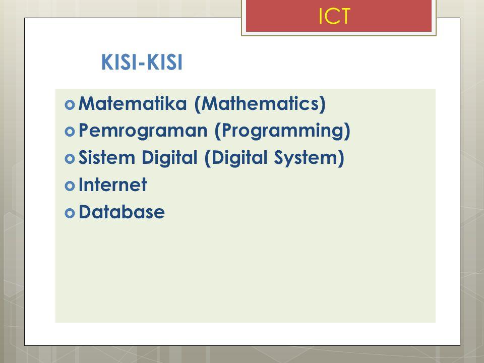 ICT KISI-KISI Matematika (Mathematics) Pemrograman (Programming)