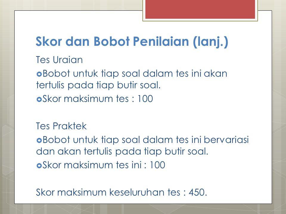 Skor dan Bobot Penilaian (lanj.)