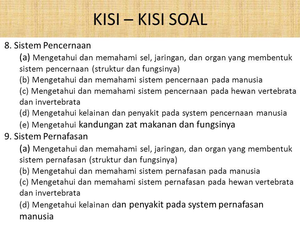 KISI – KISI SOAL 8. Sistem Pencernaan