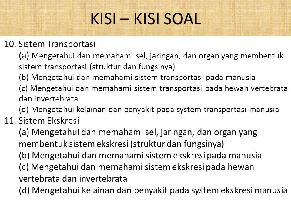 KISI – KISI SOAL 10. Sistem Transportasi