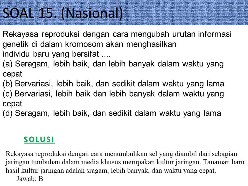 SOAL 15. (Nasional) Rekayasa reproduksi dengan cara mengubah urutan informasi genetik di dalam kromosom akan menghasilkan.