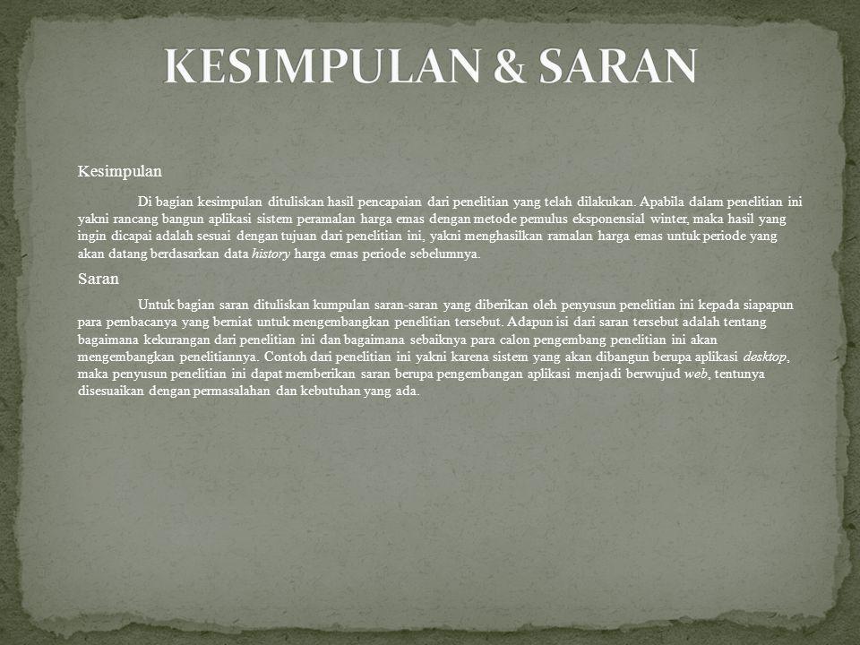 KESIMPULAN & SARAN Kesimpulan Saran