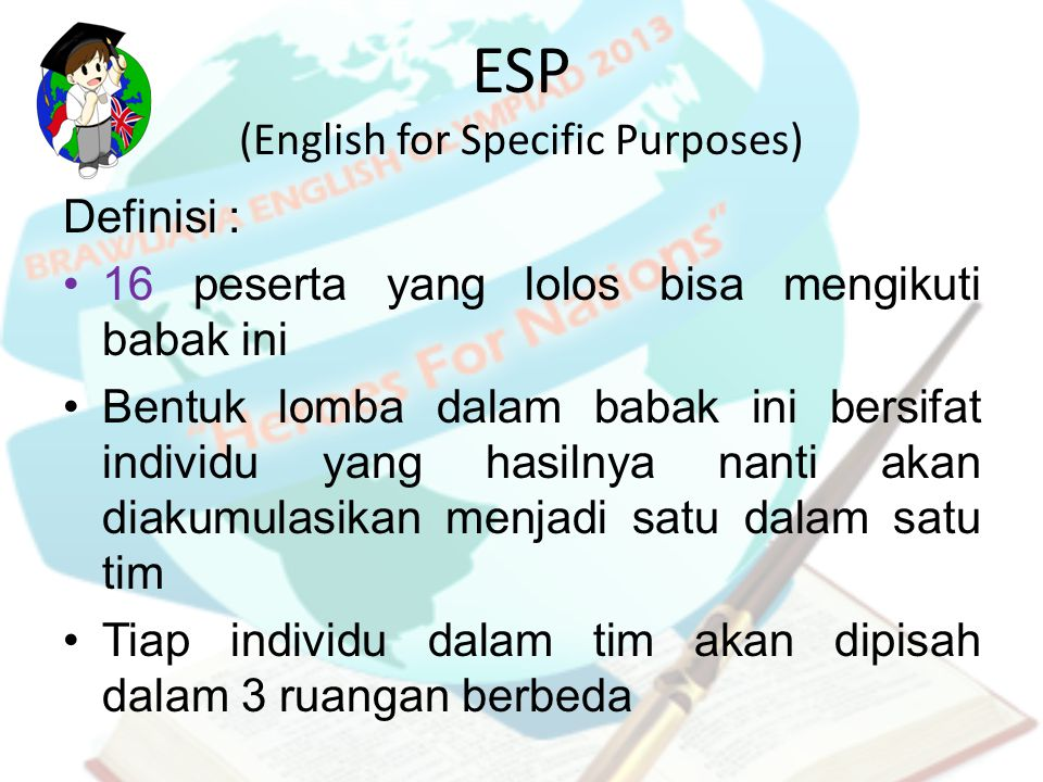 ESP (English for Specific Purposes)