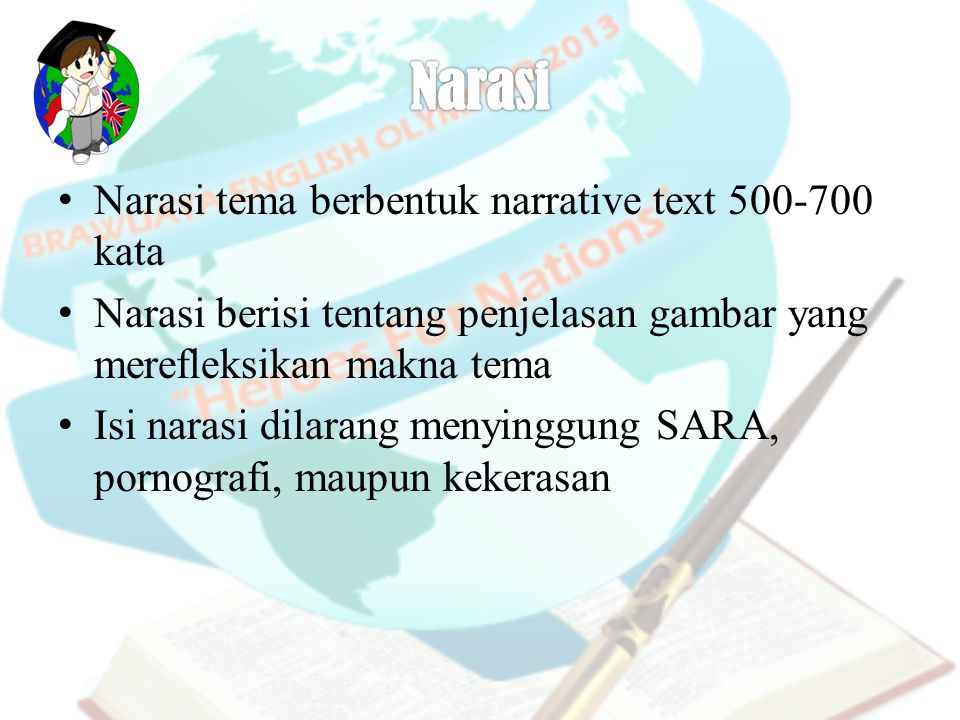 Narasi Narasi tema berbentuk narrative text 500-700 kata