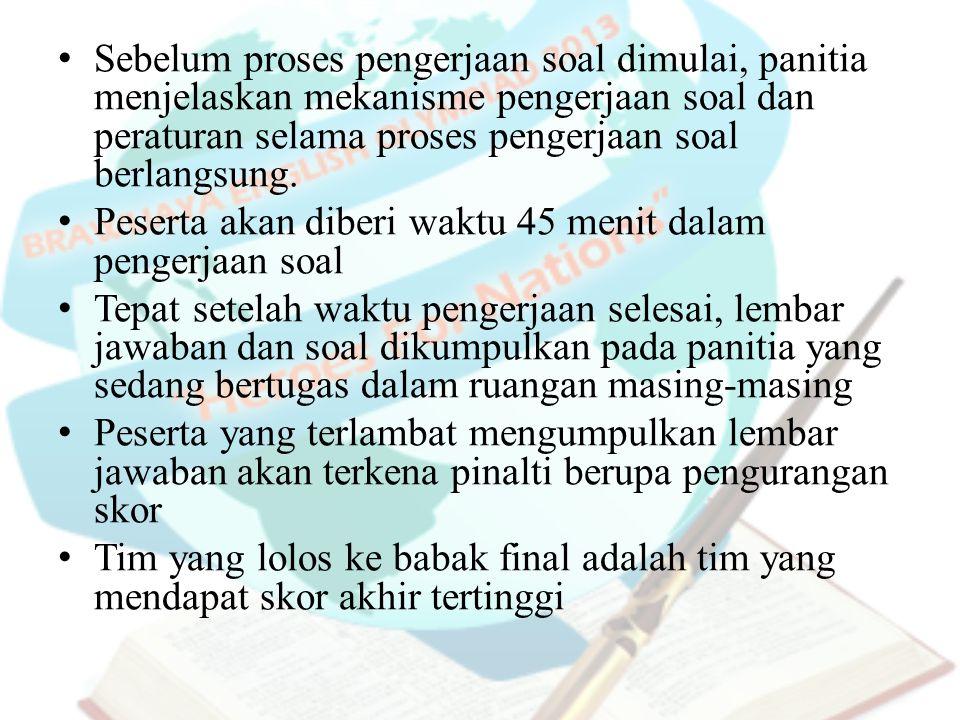 Sebelum proses pengerjaan soal dimulai, panitia menjelaskan mekanisme pengerjaan soal dan peraturan selama proses pengerjaan soal berlangsung.