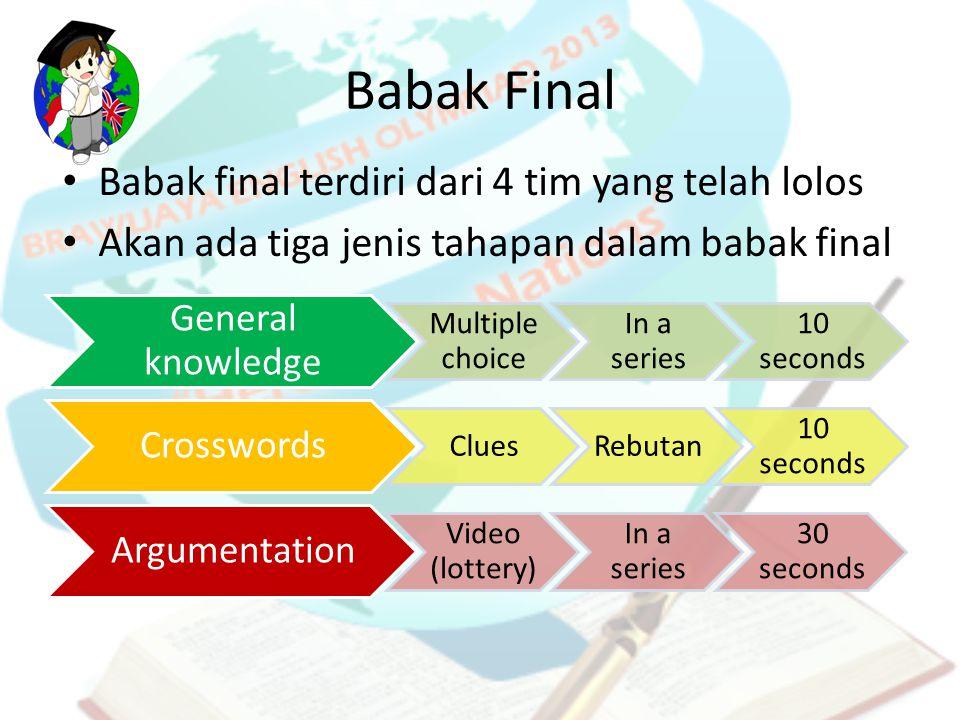 Babak Final Babak final terdiri dari 4 tim yang telah lolos