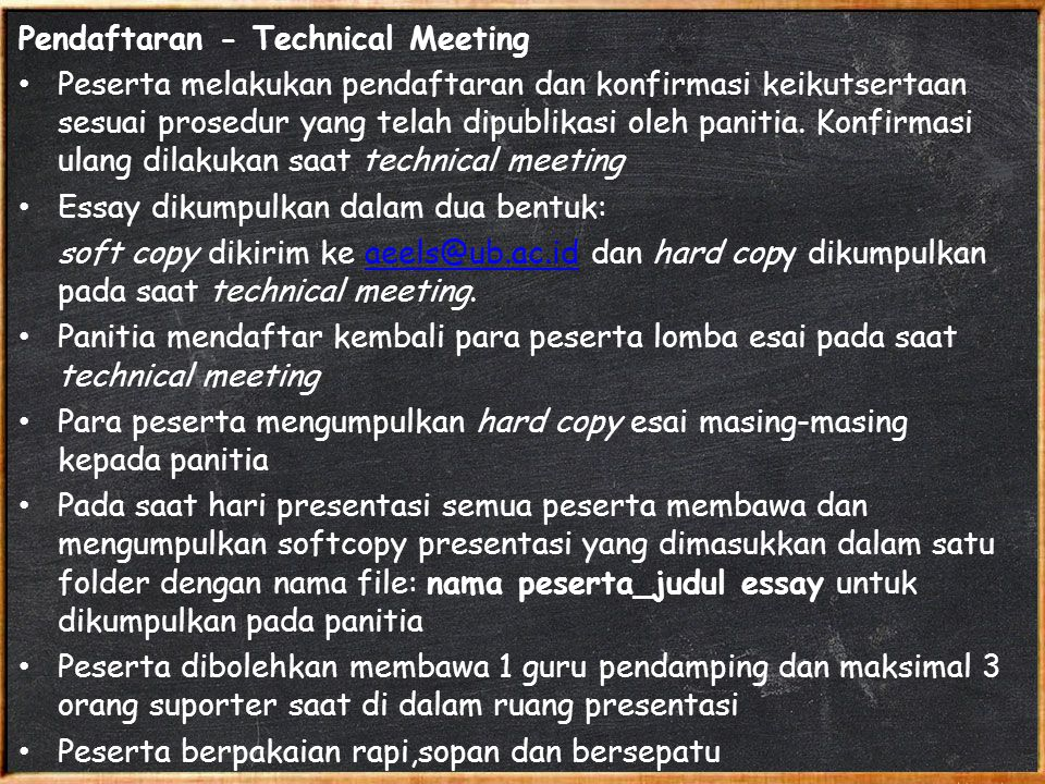 Pendaftaran - Technical Meeting