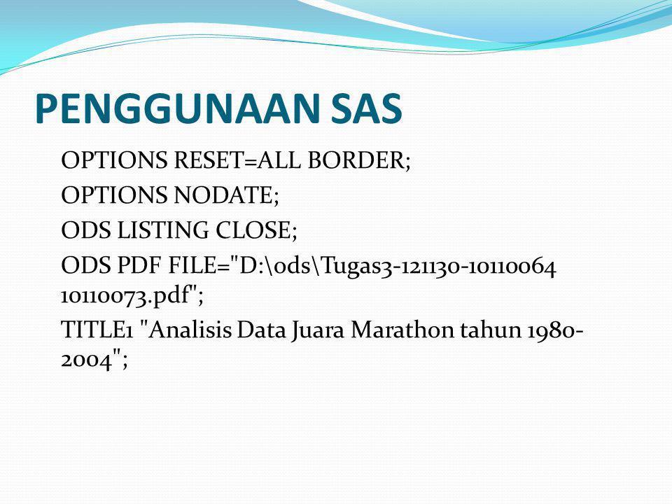 PENGGUNAAN SAS OPTIONS RESET=ALL BORDER; OPTIONS NODATE;