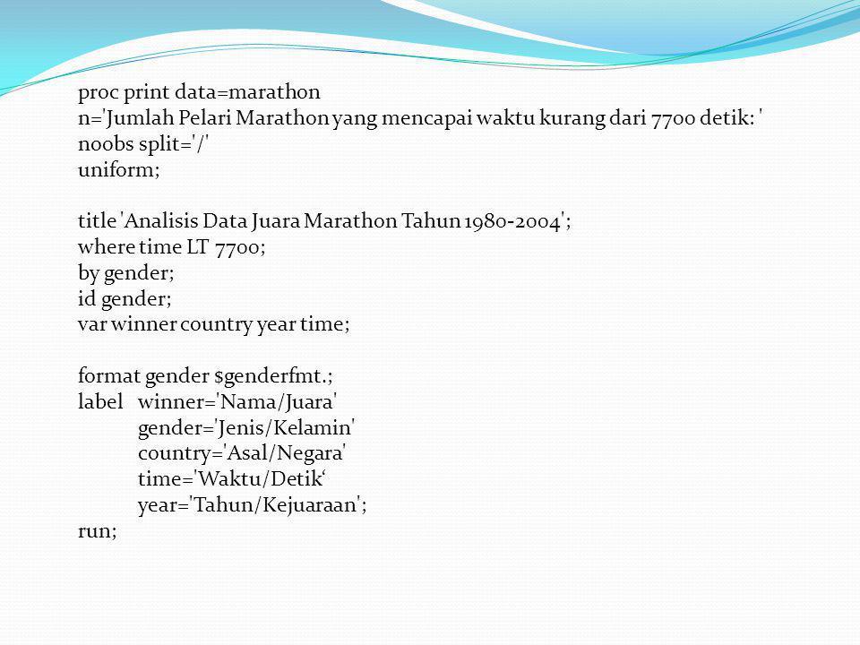 proc print data=marathon