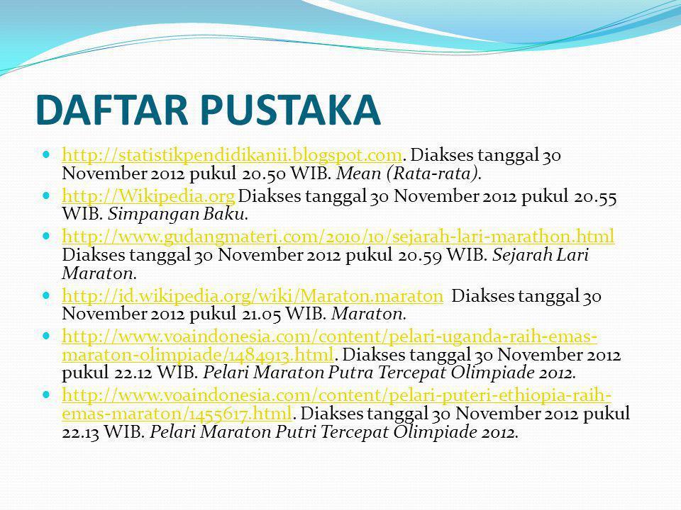 DAFTAR PUSTAKA http://statistikpendidikanii.blogspot.com. Diakses tanggal 30 November 2012 pukul 20.50 WIB. Mean (Rata-rata).