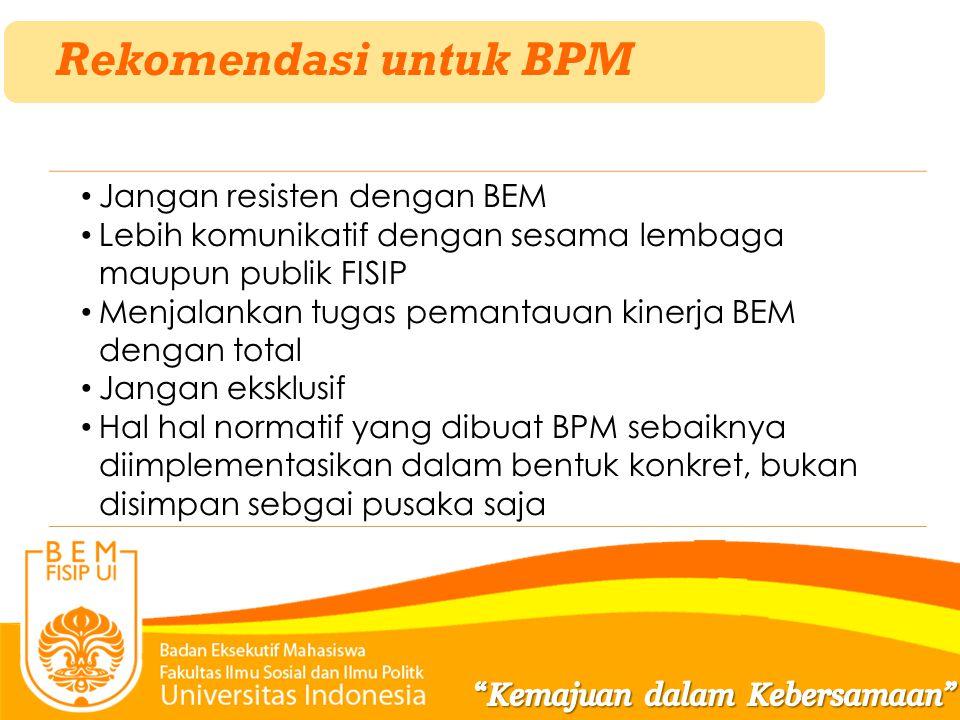 Rekomendasi untuk BPM Jangan resisten dengan BEM