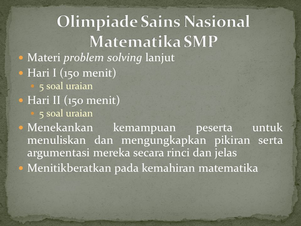 Olimpiade Sains Nasional Matematika SMP