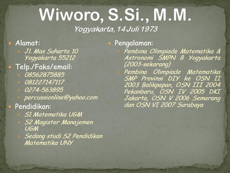 Wiworo, S.Si., M.M. Yogyakarta, 14 Juli 1973