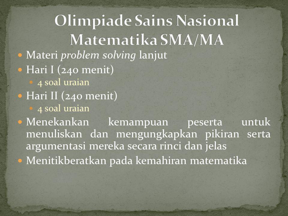Olimpiade Sains Nasional Matematika SMA/MA
