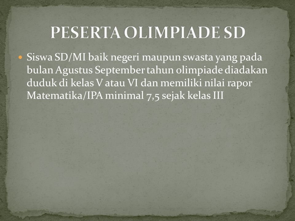 PESERTA OLIMPIADE SD