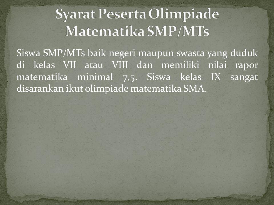 Syarat Peserta Olimpiade Matematika SMP/MTs