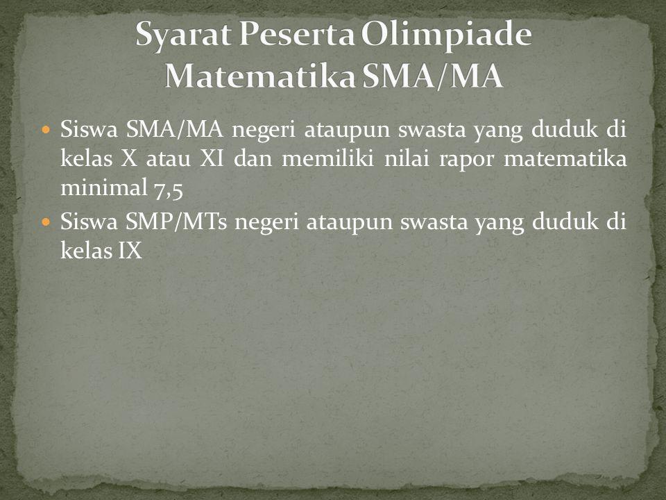 Syarat Peserta Olimpiade Matematika SMA/MA