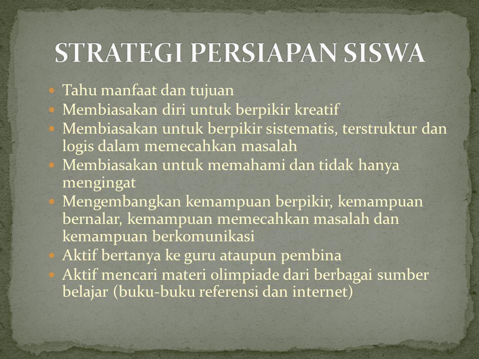STRATEGI PERSIAPAN SISWA