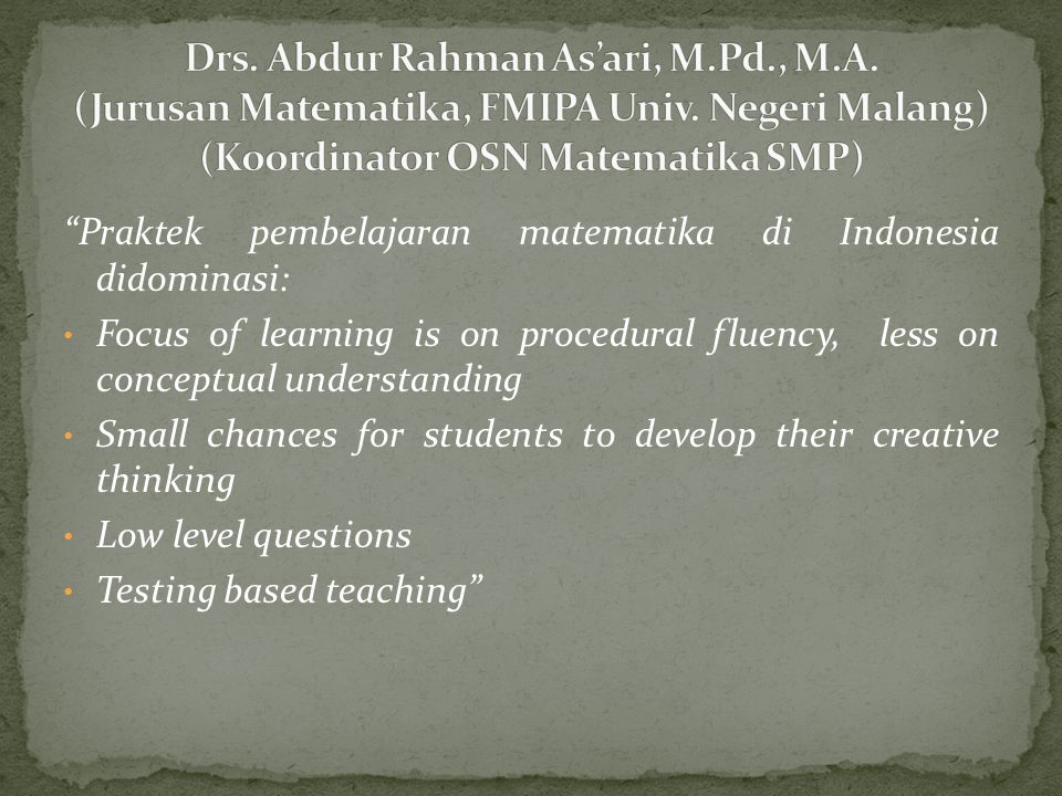 Drs. Abdur Rahman As'ari, M. Pd. , M. A