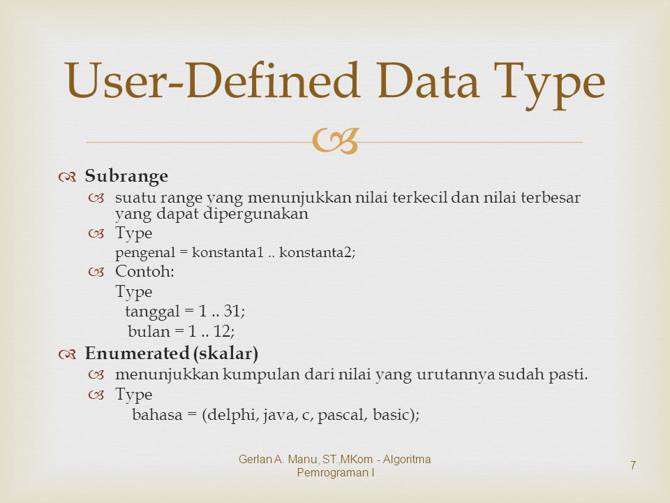 User-Defined Data Type