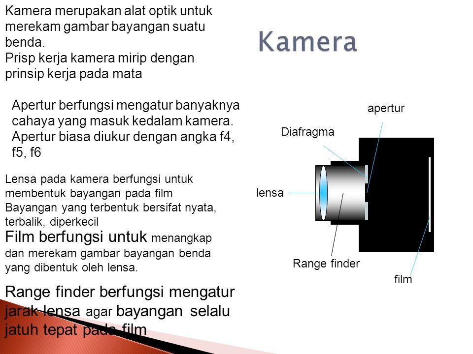 Kamera merupakan alat optik untuk merekam gambar bayangan suatu benda.