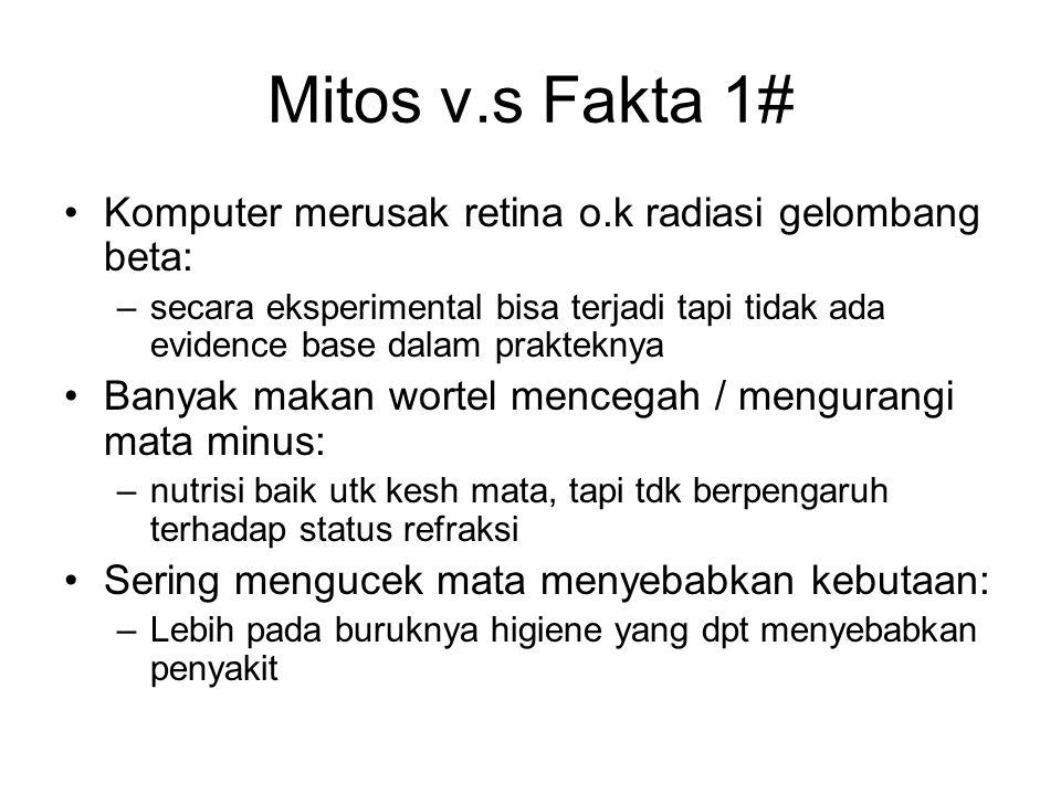 Mitos v.s Fakta 1# Komputer merusak retina o.k radiasi gelombang beta: