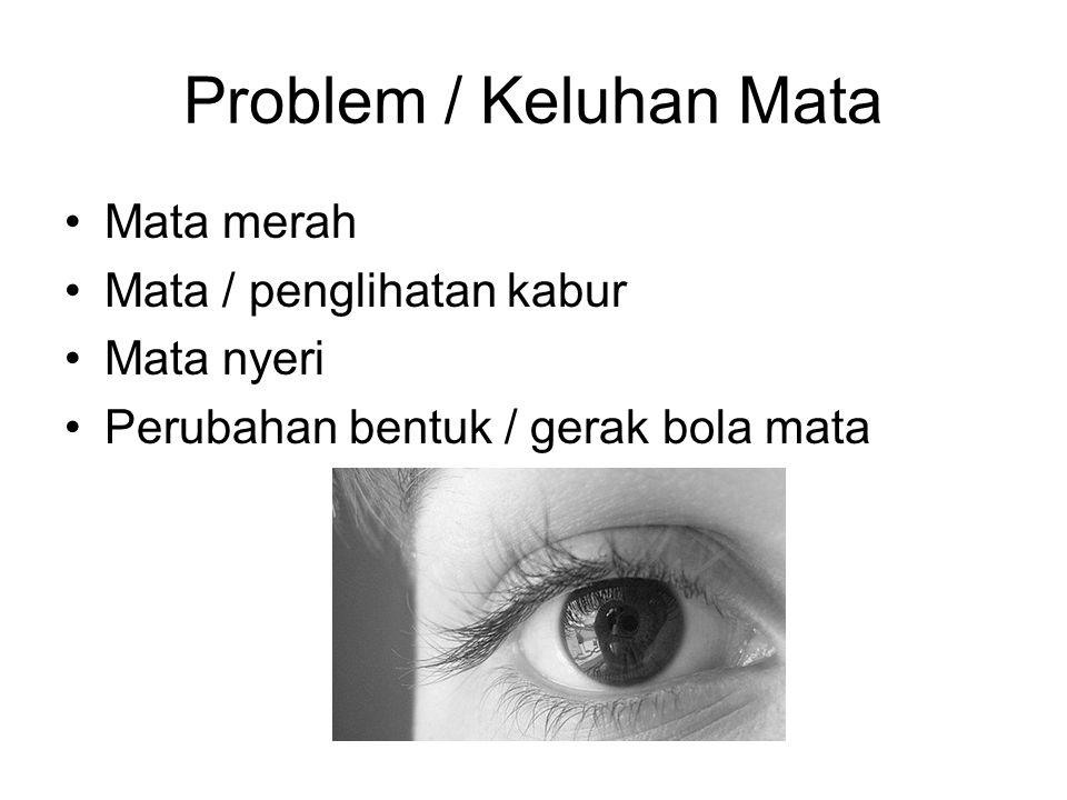 Problem / Keluhan Mata Mata merah Mata / penglihatan kabur Mata nyeri