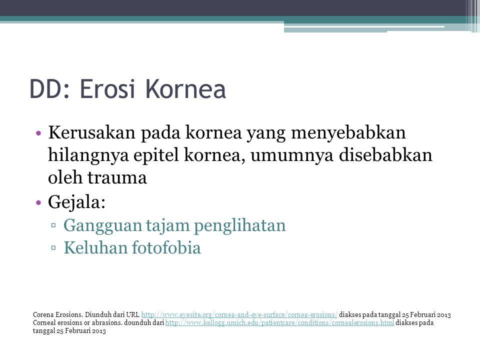 DD: Erosi Kornea Kerusakan pada kornea yang menyebabkan hilangnya epitel kornea, umumnya disebabkan oleh trauma.