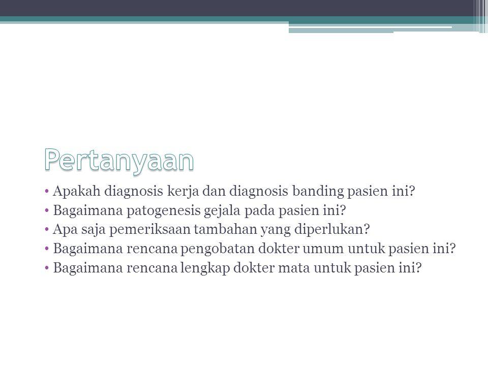 Pertanyaan Apakah diagnosis kerja dan diagnosis banding pasien ini