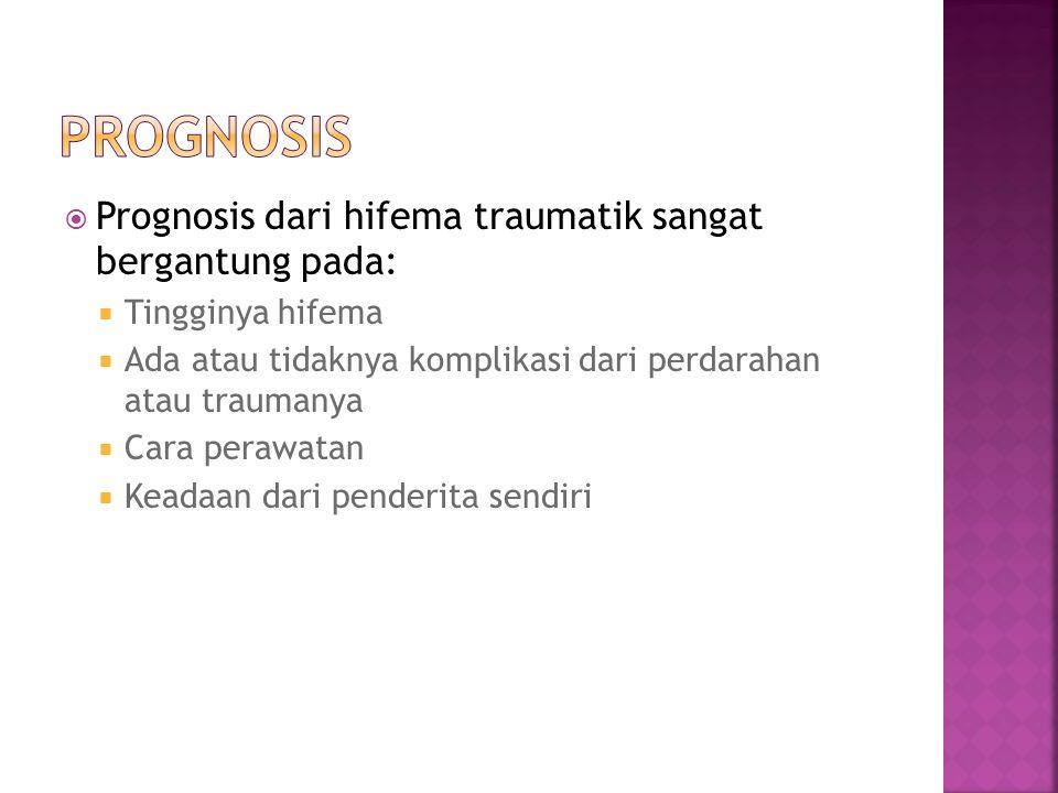 Prognosis Prognosis dari hifema traumatik sangat bergantung pada: