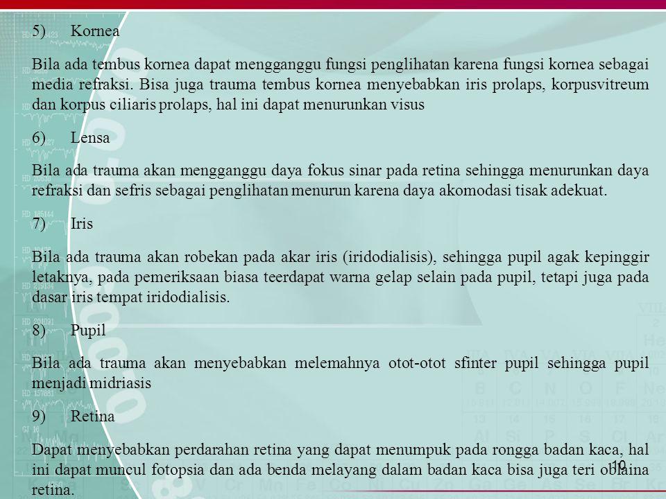 5) Kornea Bila ada tembus kornea dapat mengganggu fungsi penglihatan karena fungsi kornea sebagai media refraksi.