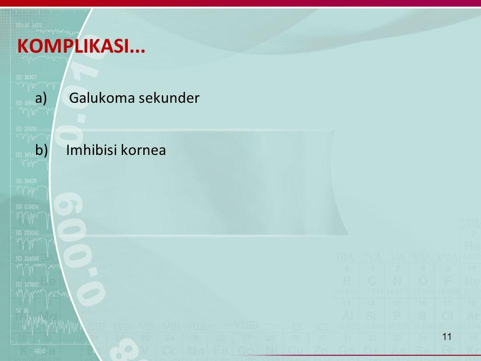 KOMPLIKASI... a) Galukoma sekunder b) Imhibisi kornea