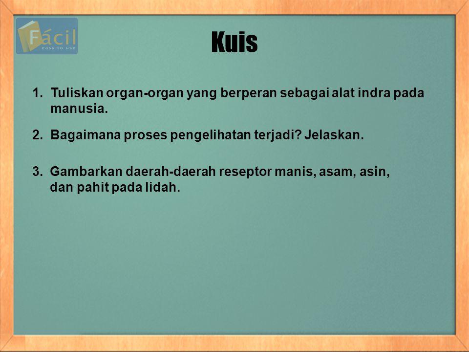 Kuis 1. Tuliskan organ-organ yang berperan sebagai alat indra pada