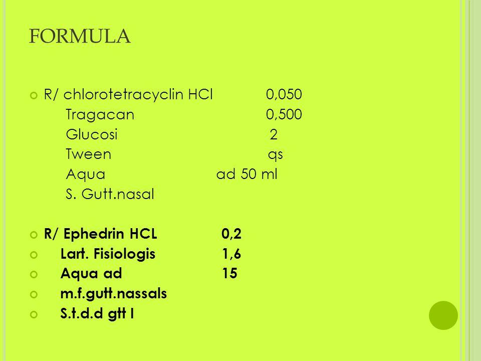 FORMULA R/ chlorotetracyclin HCl 0,050 Tragacan 0,500 Glucosi 2