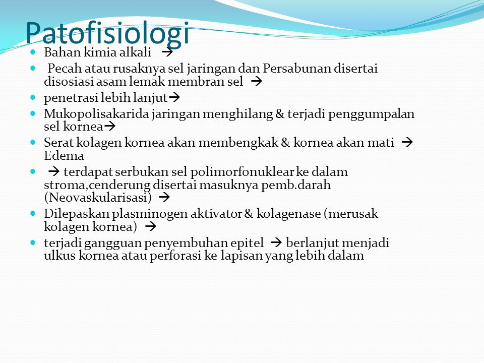 Patofisiologi Bahan kimia alkali 