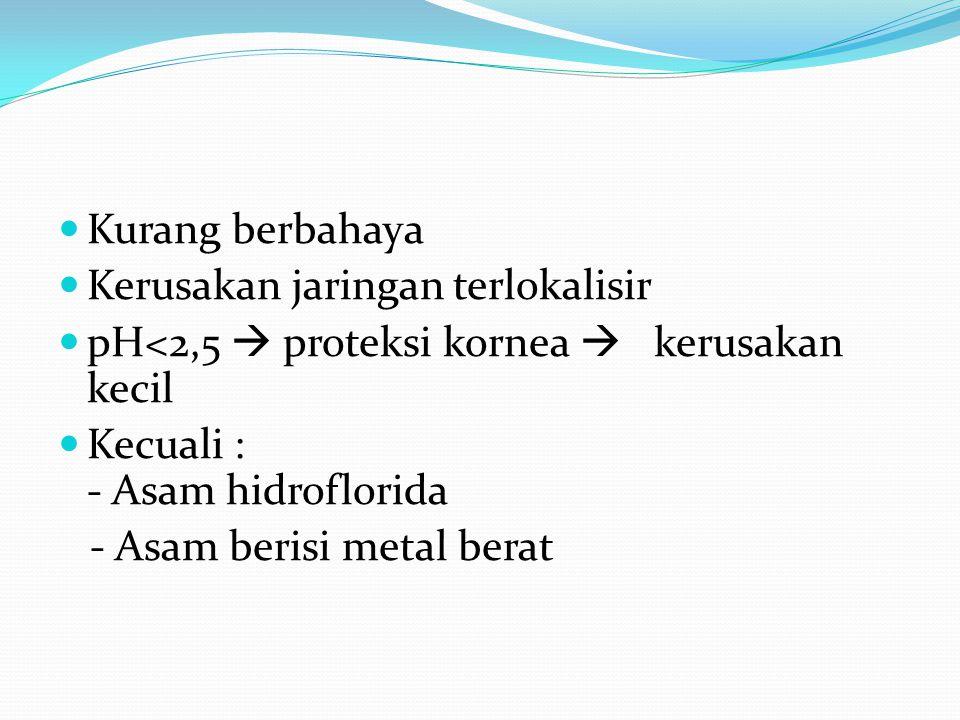 Kurang berbahaya Kerusakan jaringan terlokalisir. pH<2,5  proteksi kornea  kerusakan kecil. Kecuali : - Asam hidroflorida.