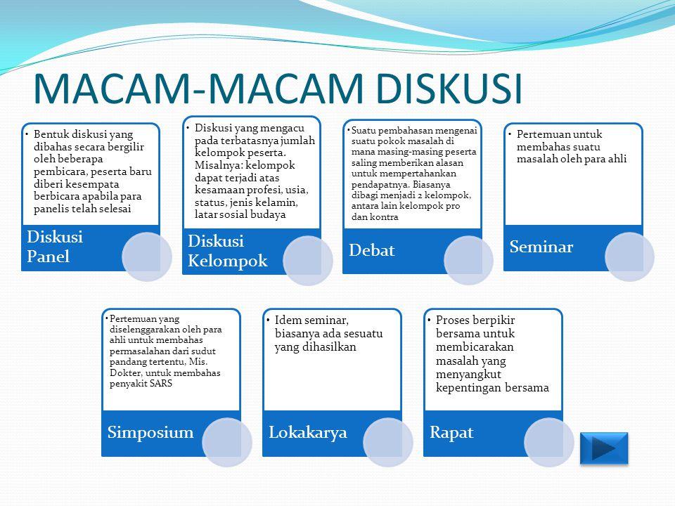 MACAM-MACAM DISKUSI Diskusi Panel.