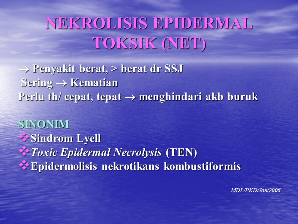 NEKROLISIS EPIDERMAL TOKSIK (NET)