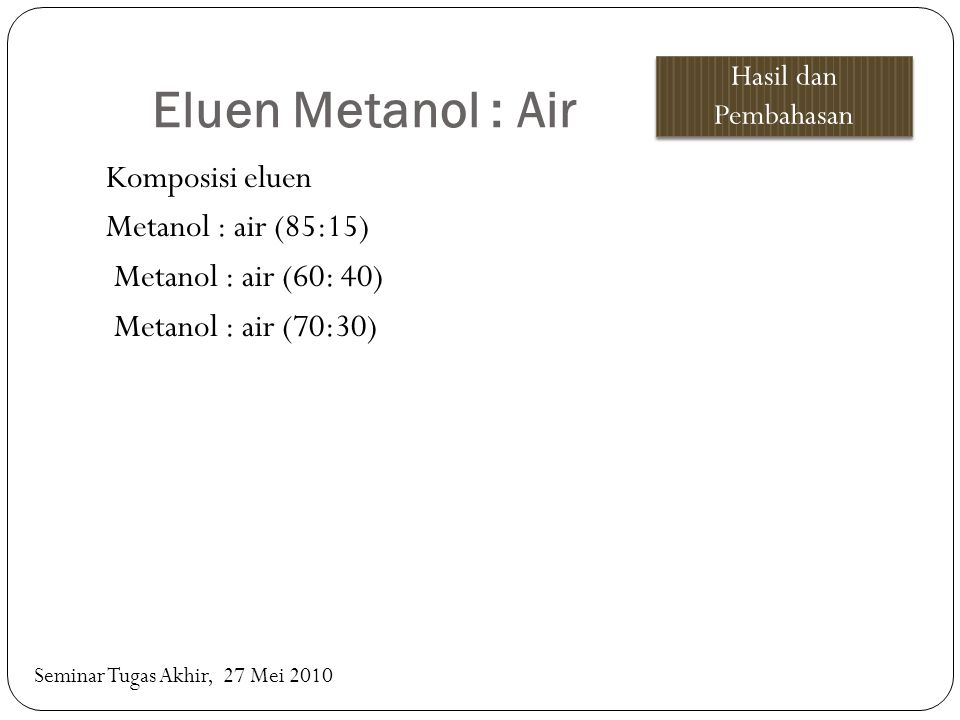 Eluen Metanol : Air Hasil dan Pembahasan. Komposisi eluen Metanol : air (85:15) Metanol : air (60: 40) Metanol : air (70:30)