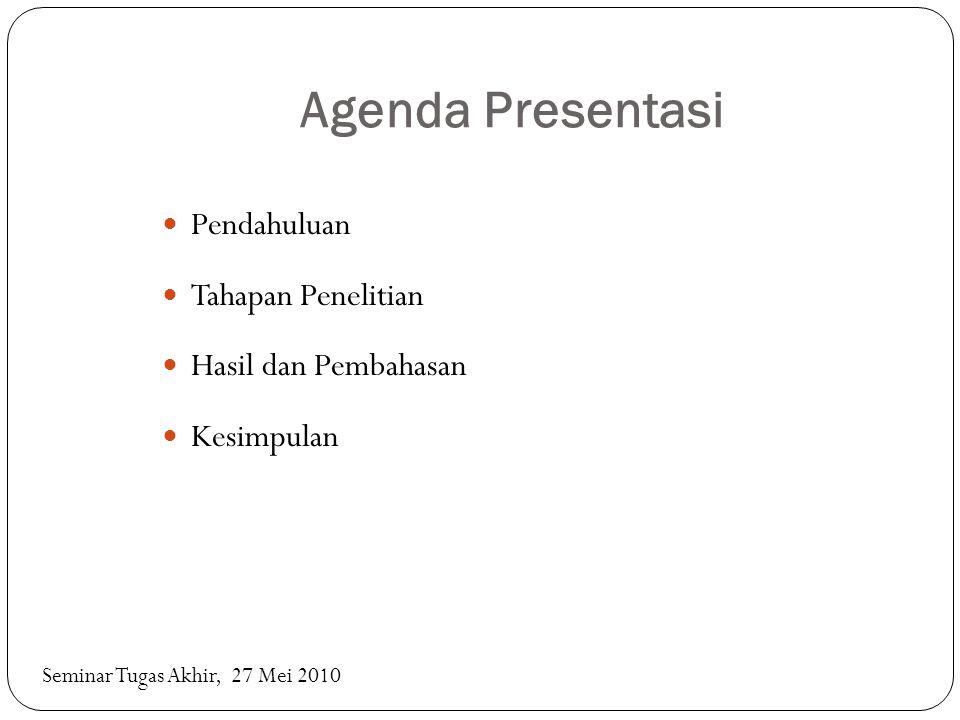 Agenda Presentasi Pendahuluan Tahapan Penelitian Hasil dan Pembahasan