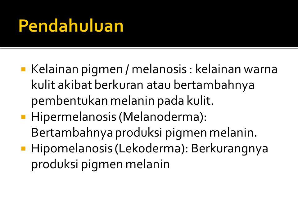 Pendahuluan Kelainan pigmen / melanosis : kelainan warna kulit akibat berkuran atau bertambahnya pembentukan melanin pada kulit.