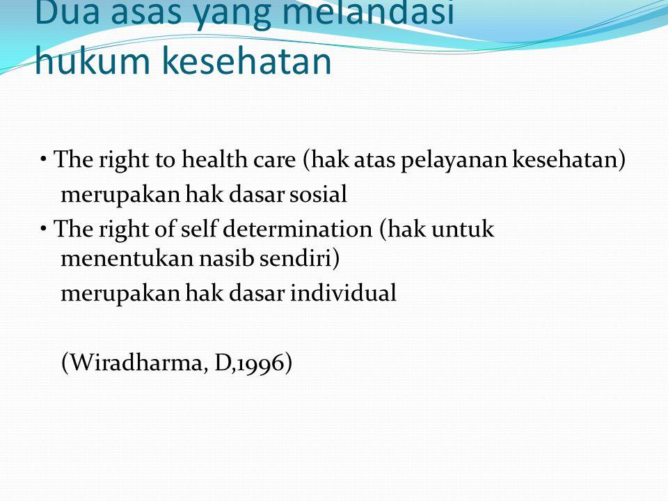 Dua asas yang melandasi hukum kesehatan