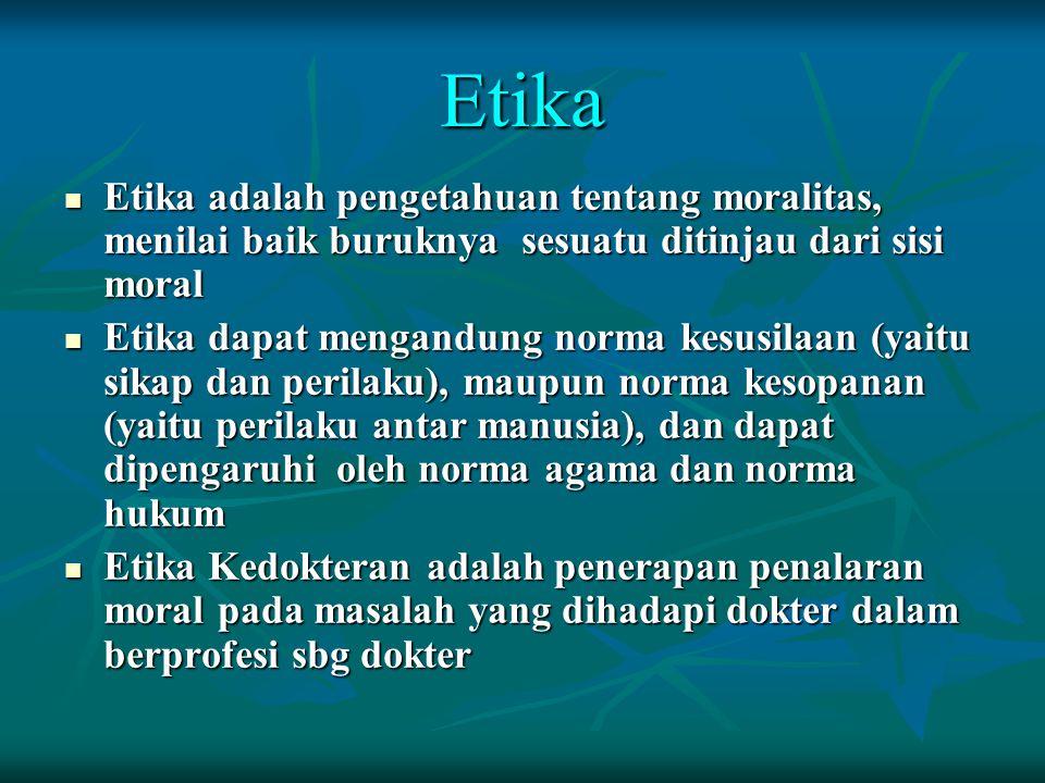 Etika Etika adalah pengetahuan tentang moralitas, menilai baik buruknya sesuatu ditinjau dari sisi moral.