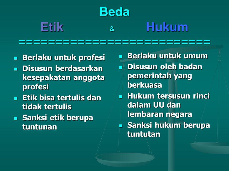 Beda Etik & Hukum ==========================