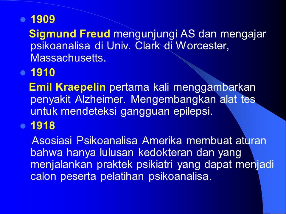 1909 Sigmund Freud mengunjungi AS dan mengajar psikoanalisa di Univ. Clark di Worcester, Massachusetts.